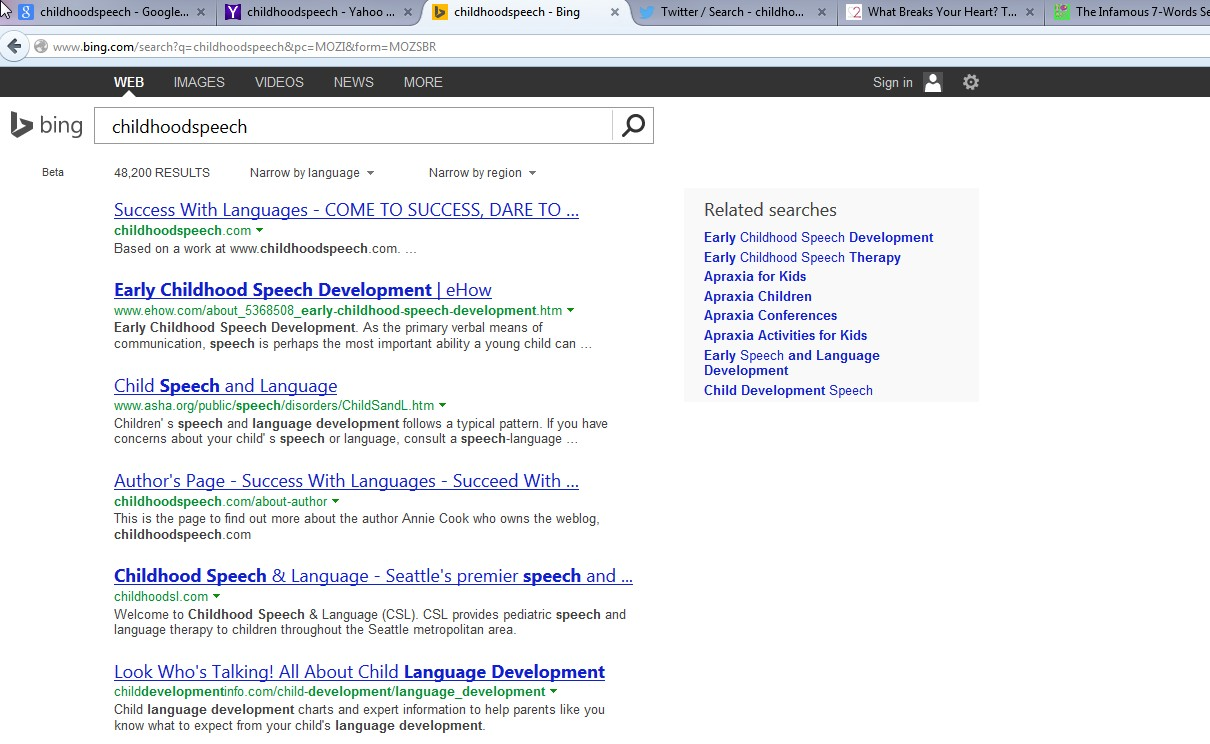 Childhoodspeech Is Back At Top Spot On Google, Yahoo and Bing.